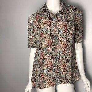 Vintage paisley print button up blouse